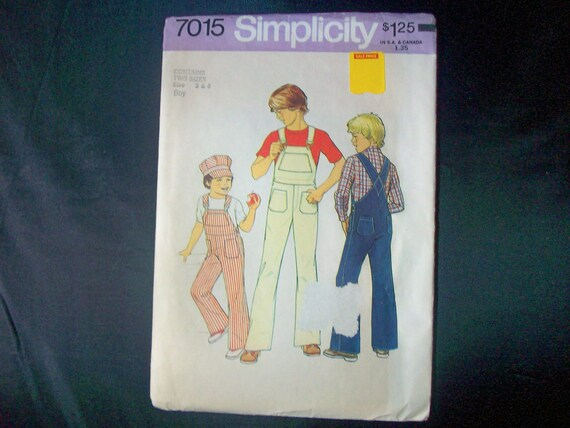 Simplicity 7015 Boys Overalls and Cap Sewing Pattern c1975 cut