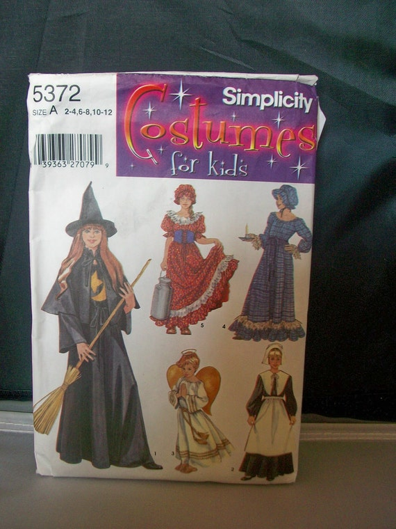 Simplicity 5372  Costumes for kids Sewing Pattern Girls witch, angel, pilgrim, milkmaid