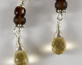 Champagne and Chocolate...Brown Golden Citirine Briolette Drops Sterling Earrings