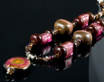 Safari Sunset...Brown Gold Pink Kazuri Lampwork Swarovski Murano Necklace
