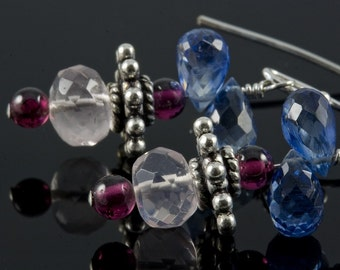 Beloved...Faceted Kyanite Garnet Rose Quartz Gemstone Sterling Earrings
