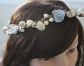 MERMAIDs delight blue sea glass, shell, pearl and moss circlet or head wreath