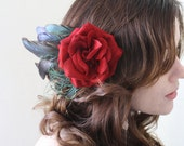 VALENTINE VELVET. luxury red rose flower clip with fancy feather and peacock plumes