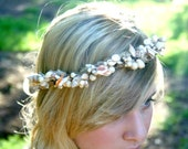 MERMAIDs delight shell pearl and moss circlet or head wreath crown. - naturallyinspired