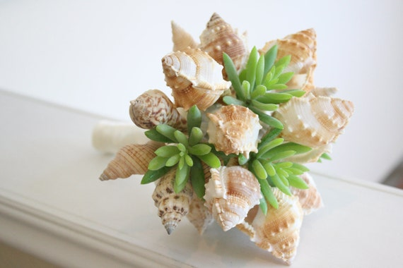 shell and succulents beach wedding bouquet and boutonniere. Black Bedroom Furniture Sets. Home Design Ideas