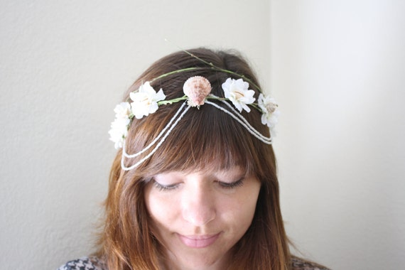 SHOP CLOSING Sale beach Princess Bride. flower crown two tiered with bead tendrils, dainty faerie head wreath child or adult