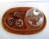 Dansk Large Vintage Teak Wood Tray and Dome