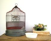 Antique Vintage Hendryx Birdcage Wire Dome & Milk Glass Accessories
