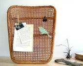Mid Century Wicker Cane Upcycled Memo Board