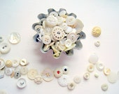 Shabby Chic Buttons Antique White MOP in Vintage Tin