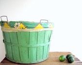Vintage Bushel Basket Floral Liner / Farmhouse Storage / Laundry Basket