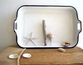 Vintage Extra-Large Tray / Swedish Enamelware  / Nautical Beach Cottage Decor