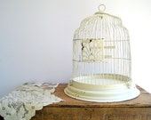 Vintage Birdcage Rustic Dome Cloche White / Shabby Chic Wedding
