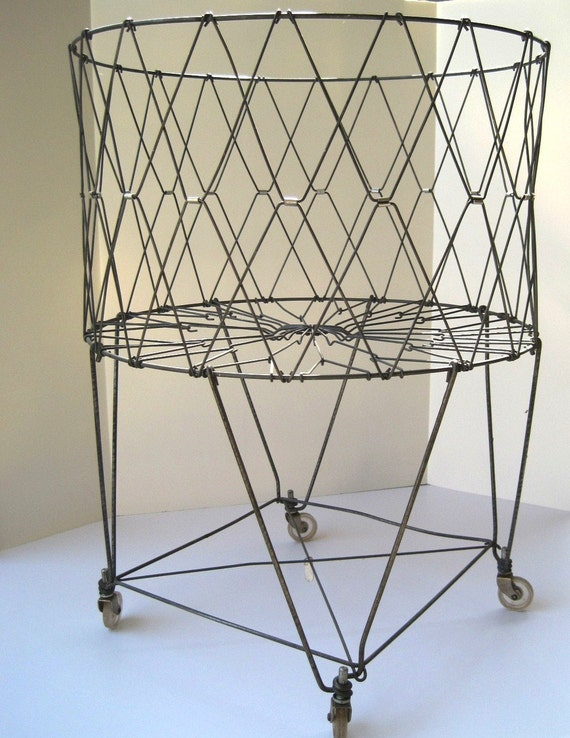 Vintage Laundry Metal Folding Basket On Wheels By