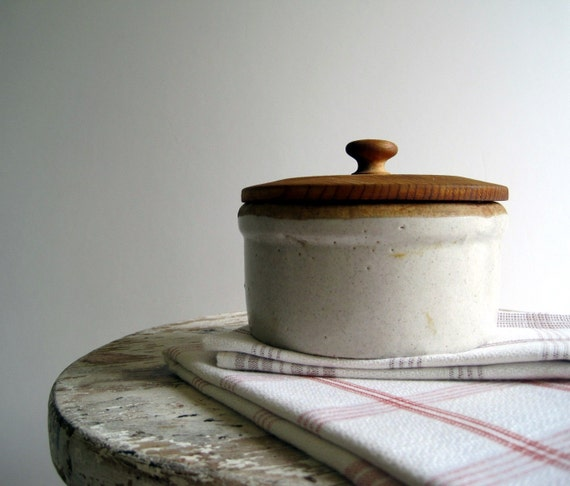Vintage Antique Stoneware Butter Crock With Wood By