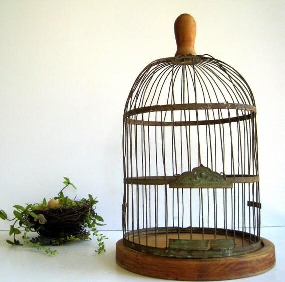 Primitive Antique Vintage Bird Cage Wood Turned Handle, Base