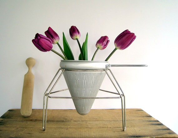 Vintage Farmhouse Metal Colander, Stand with Wooden Pestle