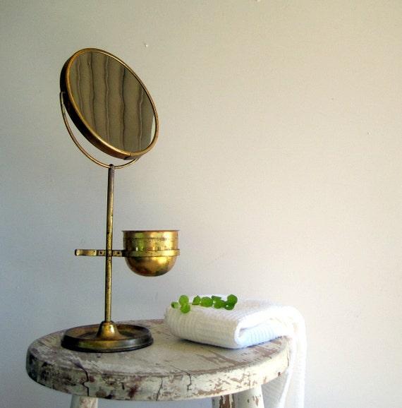 Hold For Jennifer Antique Vintage Brass Shaving Mirror Stand