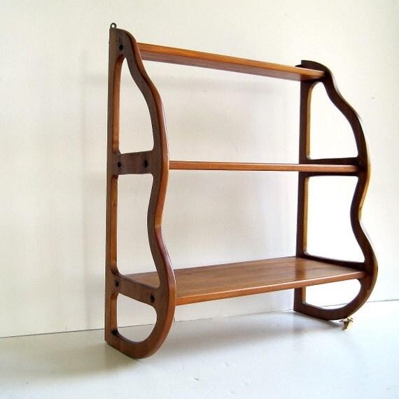 vintage mid century modern wood wall shelf by birdinhandvtg. Black Bedroom Furniture Sets. Home Design Ideas