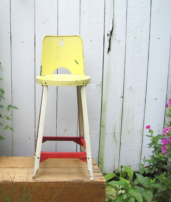 Vintage Farmhouse Childs Metal Chair Stool
