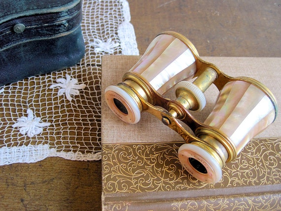 Antique LeMaire Opera Glasses with Leather Case