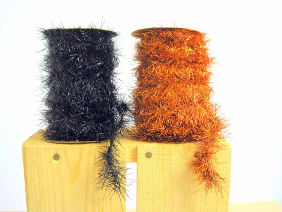 Halloween tinsel garland spool orange vintage by birdinhandvtg