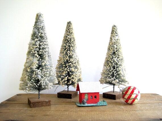 Vintage Bottle Brush Christmas Tree Large Flocked