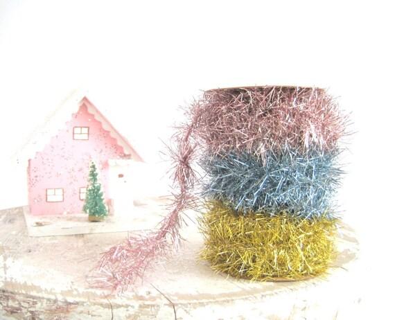 Pastel Tinsel Garland / Shabby Chic Christmas Decor / Wedding Holiday Spring Decoration