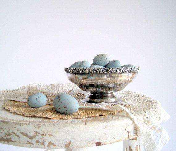 Decorative Robins Eggs Blue Faux Artificial Speckled 2 Dozen