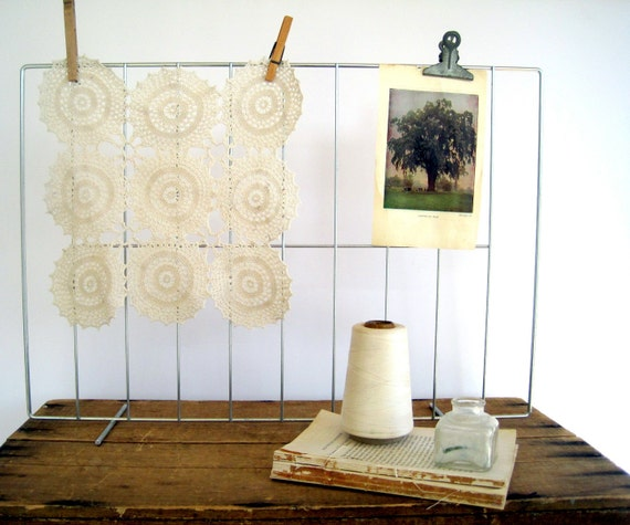 Vintage Industrial Decor Stand Memo Board Upcycled Display