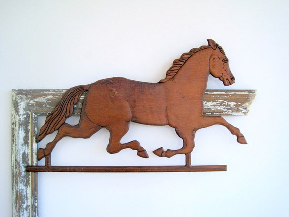SALE Carved Wood Horse Equestrian Modern Farmhouse Decor