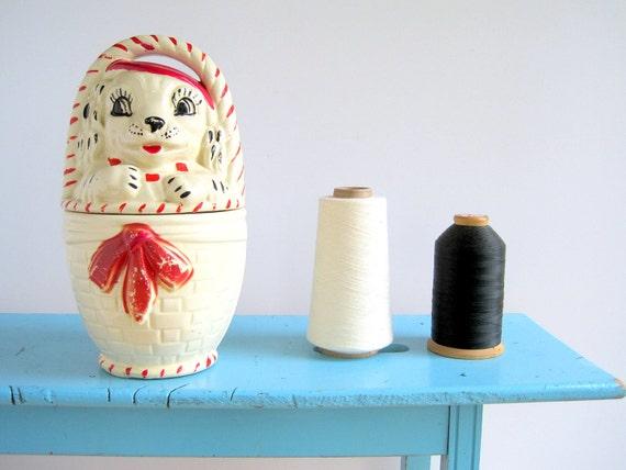 1930s Ceramic  Cookie Jar / French Pet Dog in a Basket  Kitchen Storage Organization