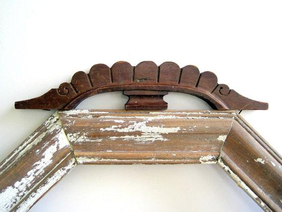 Antique Architectural Salvage Wood Scroll Pediment / Cottage Chic