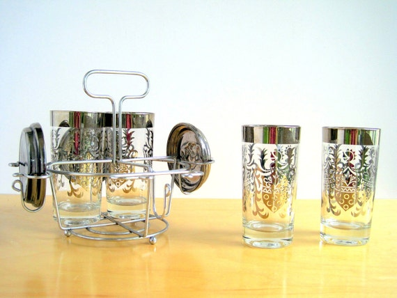 Silver Ombre Glass Set Mid Century Barware Medieval Knight