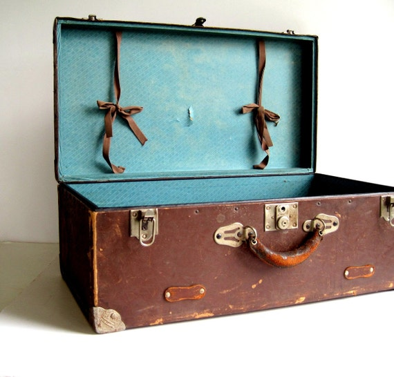 Antique Suitcase Trunk Chest / Metal Corners, Leather Accents / Storage Organization