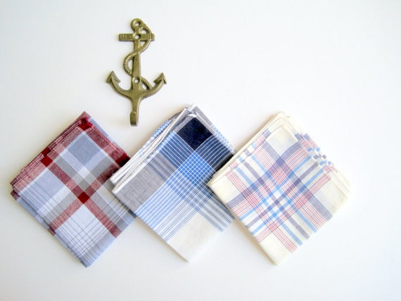Vintage Mens Summer Handkerchiefs Plaid