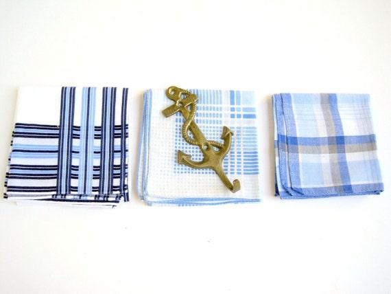 Vintage Mens Handkerchiefs Nautical Plaid