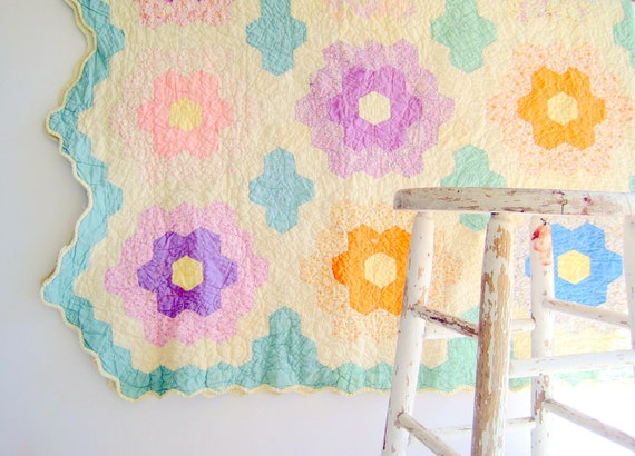 RESERVED FOR SUE Vintage Pastel Quilt / Shabby Chic Spring Home Decor