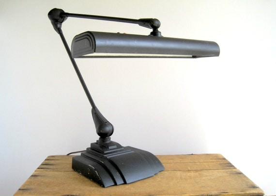 Vintage Industrial Flexo Desk Drafting Lamp / Industrial Home Office Lighting