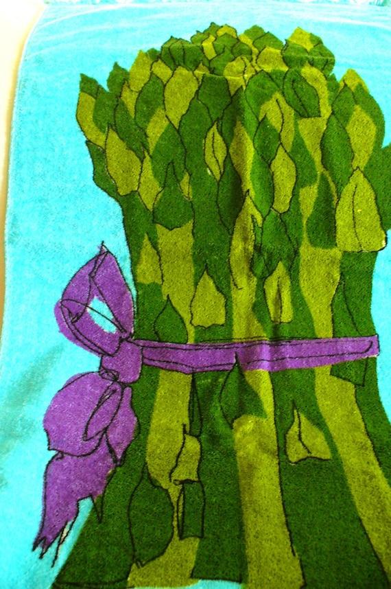 60s giant asparagus kitchen set 4 new vintage towels for 60s kitchen set