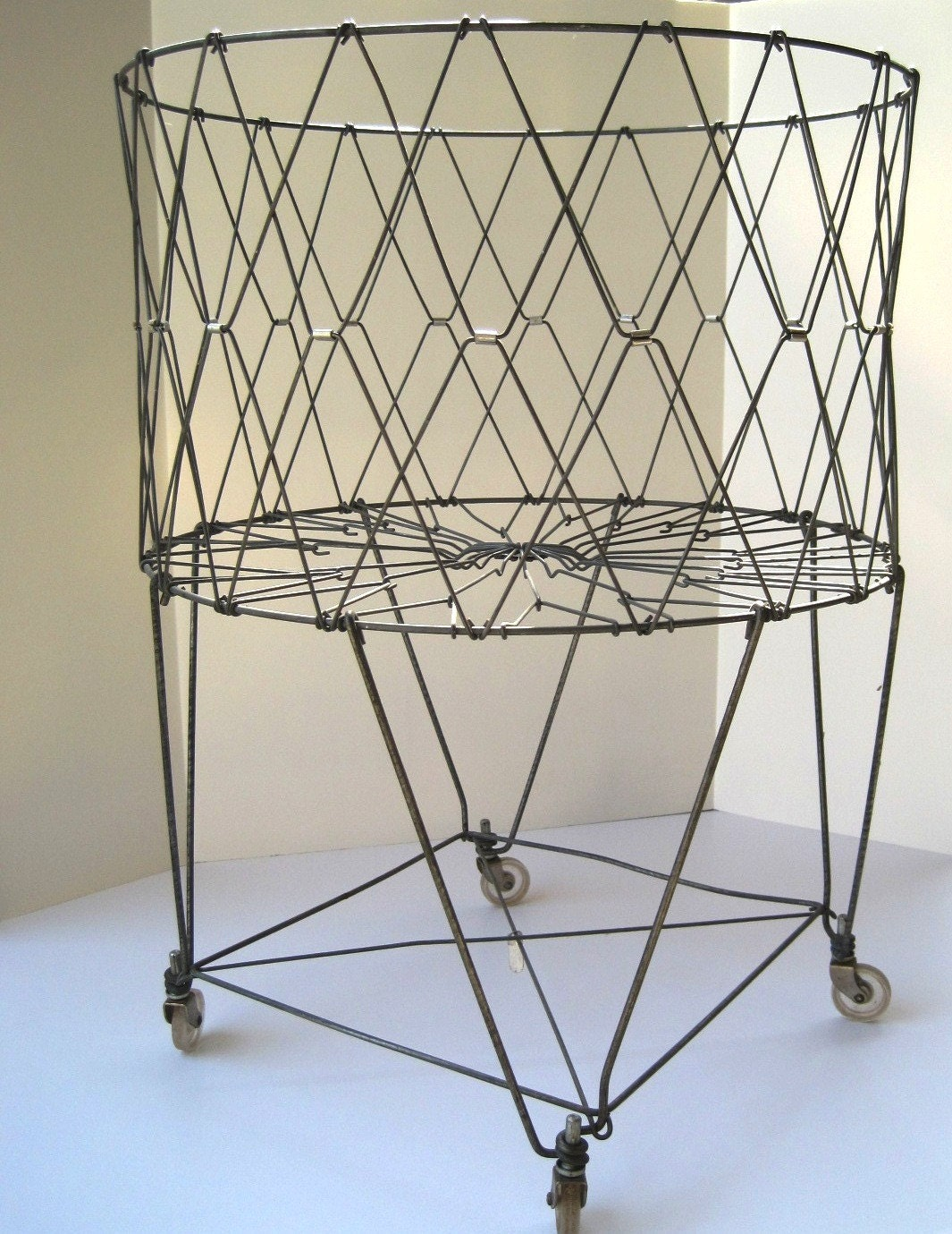 Vintage Laundry Metal Folding Basket On Wheels