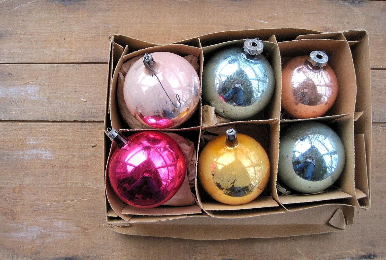 SALE Antique Vintage Christmas Ornaments Poland Original Box