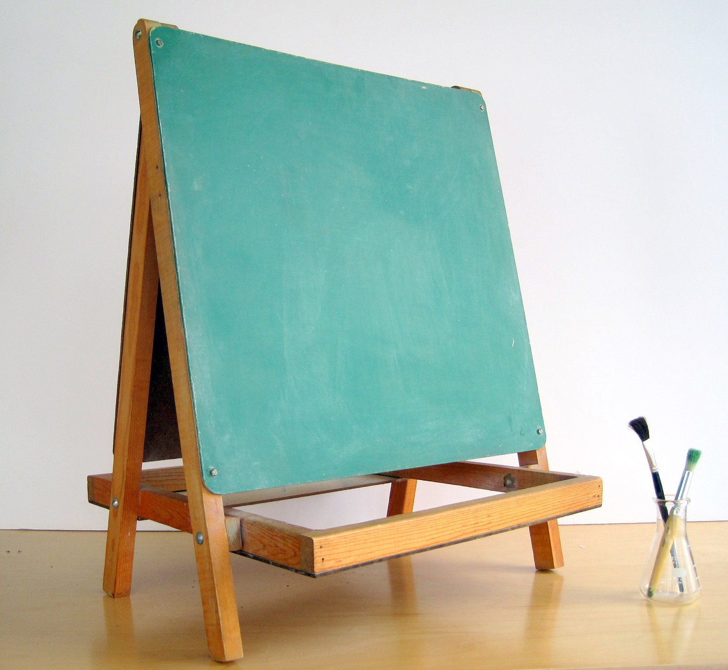Double Sided Easel Chalkboard Wood Stand Chalk Ledge