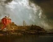 landscape fine art photography lighthouse print storm clouds home decor office decor red