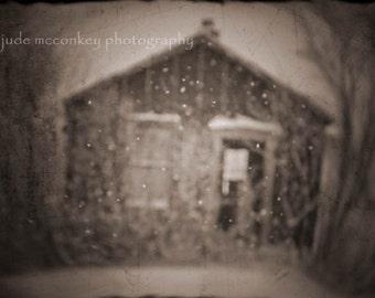 Winter photograph, rural decay print, home decor,  Fine Art Photograph