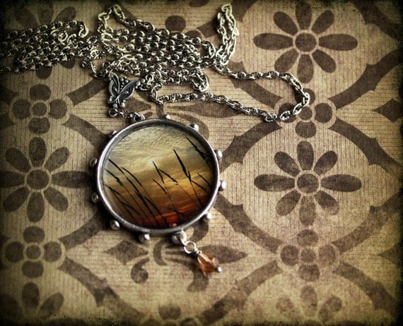 Sunset Necklace - Clouds and Grass - Vintage Inspired Photo Jewelry - Sunset Through Weeds - original photography - mothers day