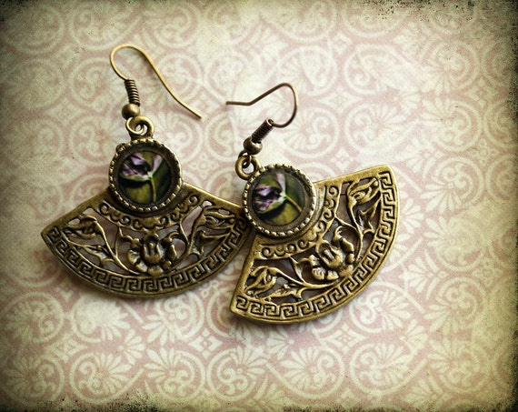 Tulip Earrings, Asian Inspired jewelry, Photo Jewelry, Dangle Earrings, original photography,, Ready to Ship,