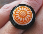 "Vintage Button ""Farmers Market"" Ring in Orange and Black"
