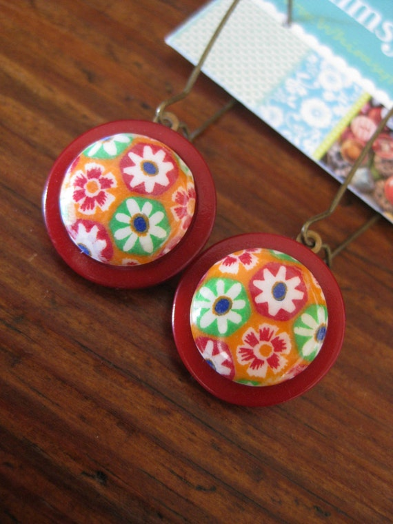 "Vintage Button ""Mod Garden"" Dangle Earrings in Red, Orange, Lime Green and Blue Flowers"