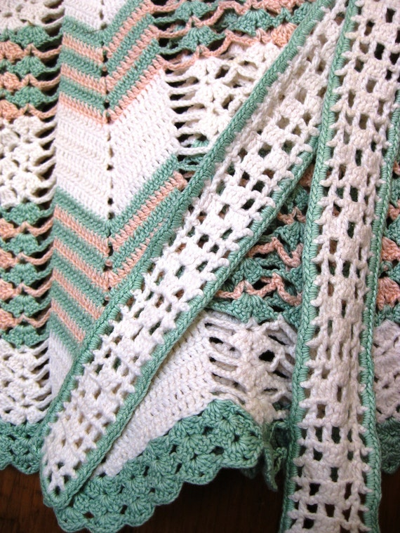Vintage Handmade Crochet Half Apron in White, Mint Green and Peach